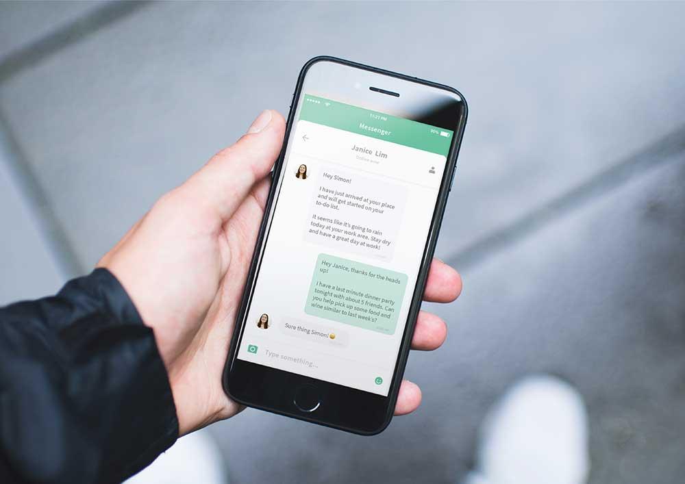 app mobile web messaging messenger chat app mockup design