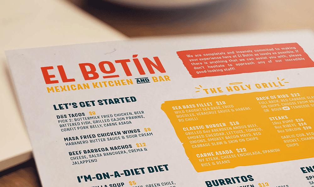 mexican restaurant kitchen bar marketing menu design