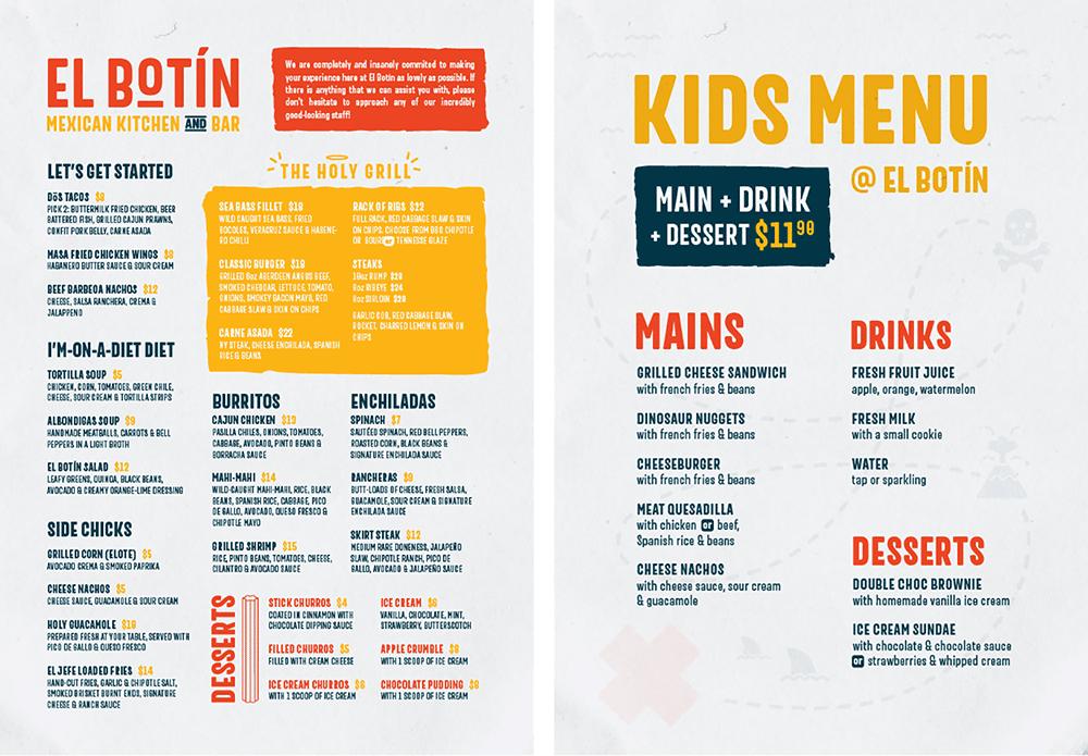mexican restaurant kitchen bar marketing kids menu design
