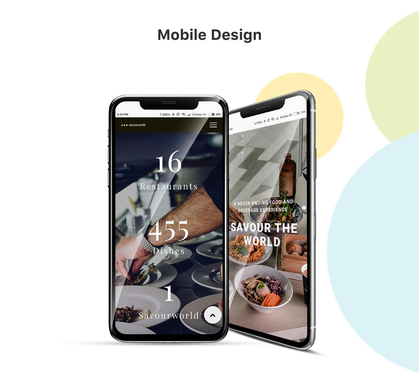 restaurant website mobile app design mockup