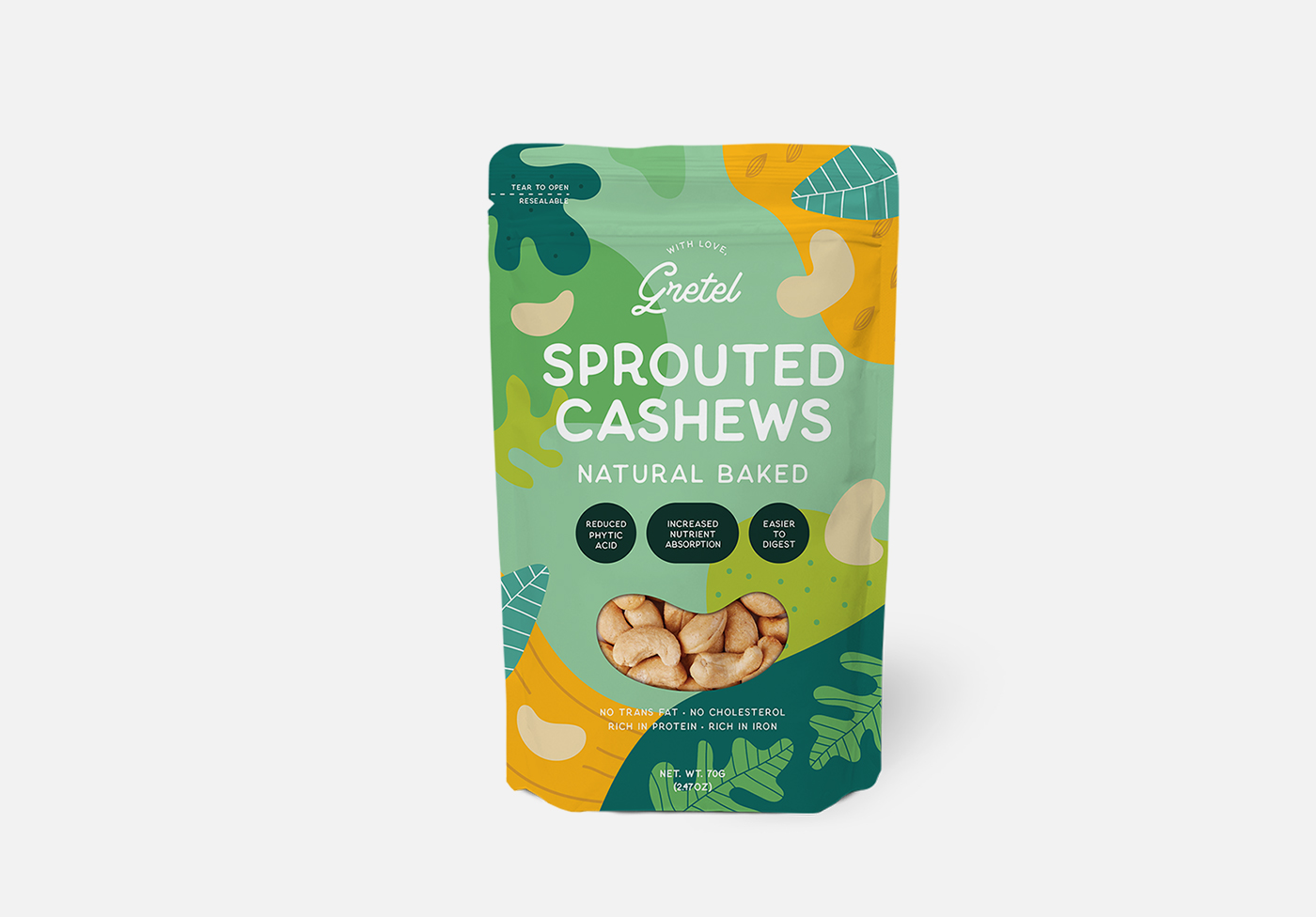 cashew nut standing pouch packaging mockup